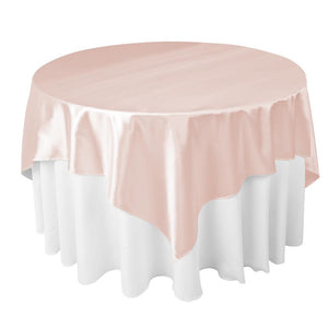 "Blush Satin Overlay Tablecloth 60"" x 60"""