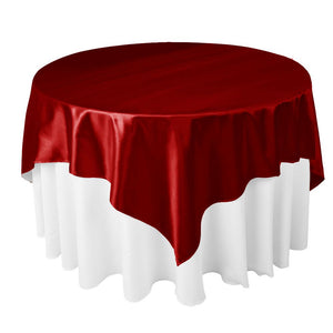 "Dark Red Satin Overlay Tablecloth 60"" x 60"""