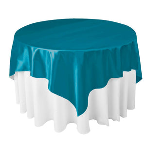 "Dark Teal Satin Overlay Tablecloth 60"" x 60"""