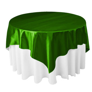 "Emerald Satin Overlay Tablecloth 60"" x 60"""