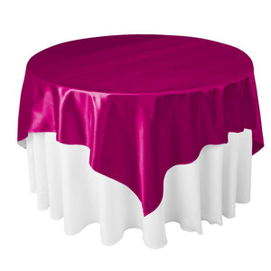"Fuchsia Satin Overlay Tablecloth 60"" x 60"""