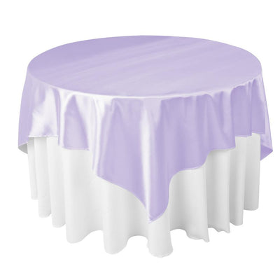Lavender Satin Overlay Tablecloth 60