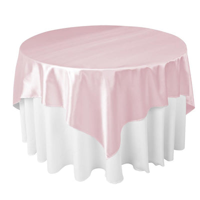 Pink Satin Overlay Tablecloth 60