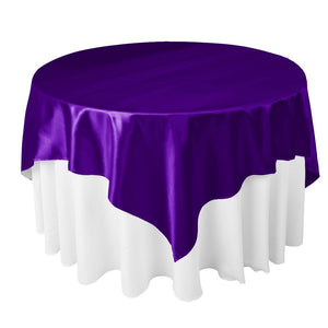 "Purple Satin Overlay Tablecloth 60"" x 60"""