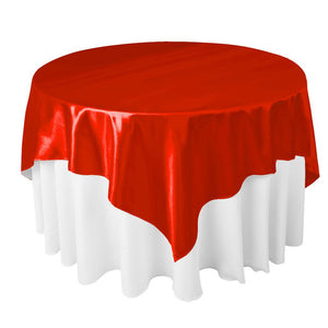 "Red Satin Overlay Tablecloth 60"" x 60"""