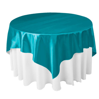 Turquoise Satin Overlay Tablecloth 60