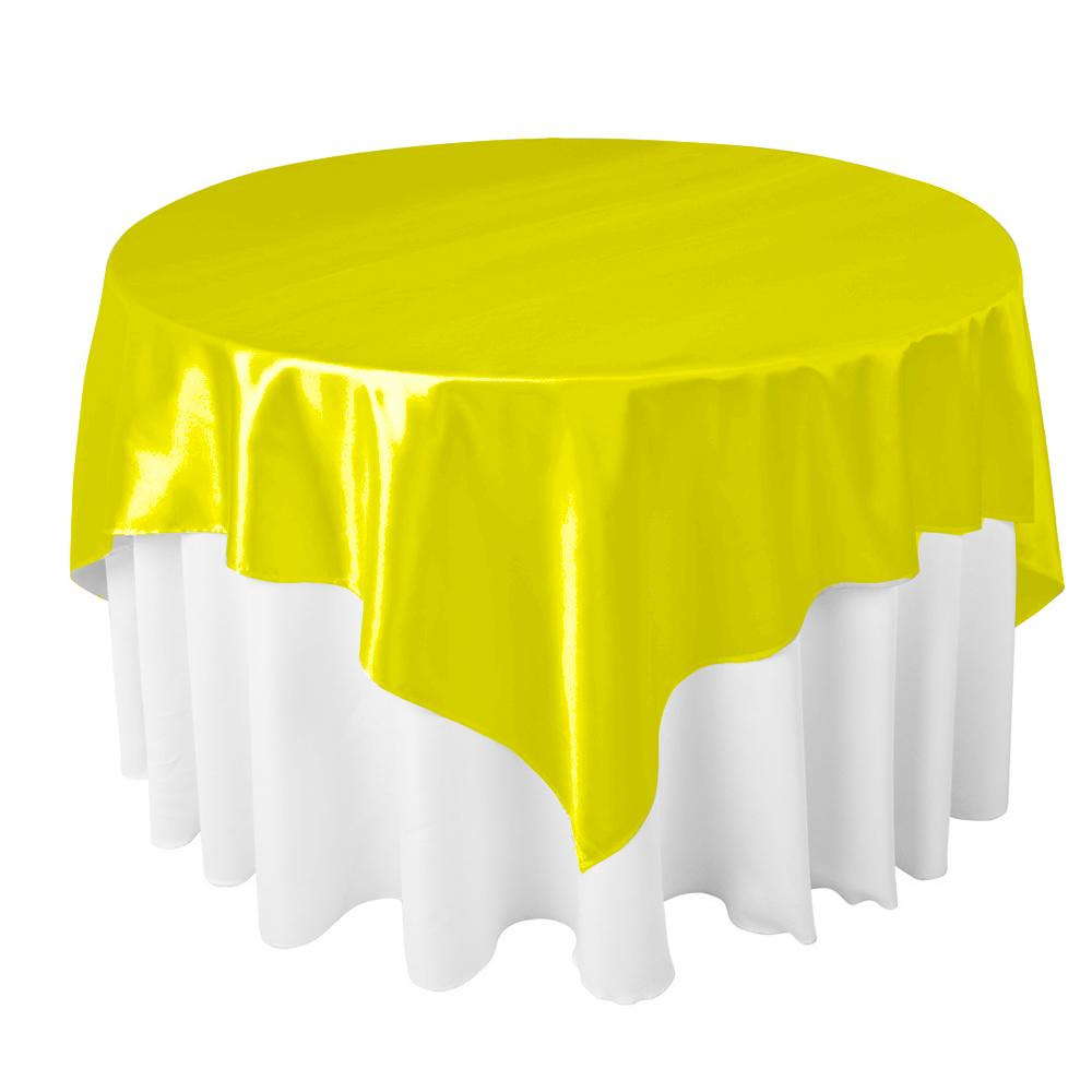 "Yellow Satin Overlay Tablecloth 60"" x 60"""