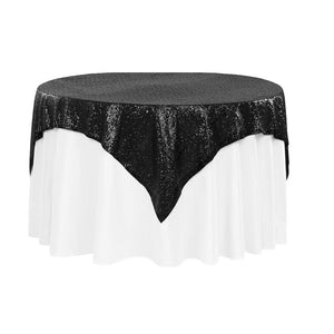 "Black Sequins Overlay Tablecloth 60"" x 60"""
