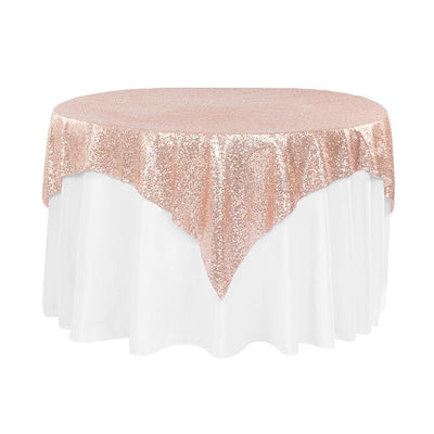Blush Sequins Overlay Tablecloth 60