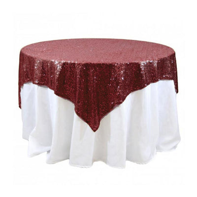Burgundy Sequins Overlay Tablecloth 60