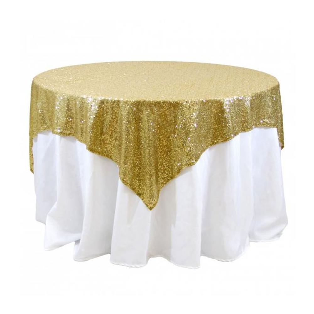 "Gold Sequins Overlay Tablecloth 60"" x 60"""