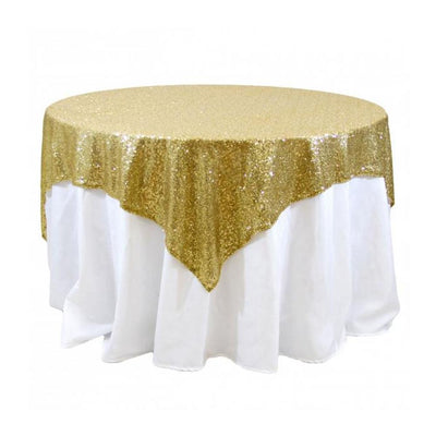 Gold Sequins Overlay Tablecloth 60