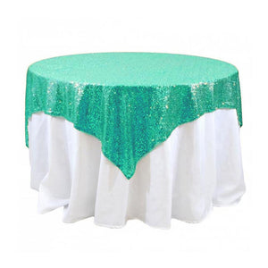 "Mint Sequins Overlay Tablecloth 60"" x 60"""