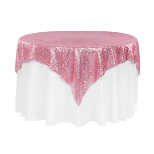 "Pink Sequins Overlay Tablecloth 60"" x 60"""