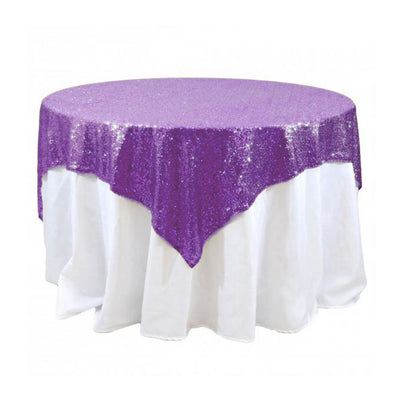Purple Sequins Overlay Tablecloth 60