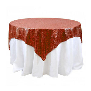 "Red Sequins Overlay Tablecloth 60"" x 60"""