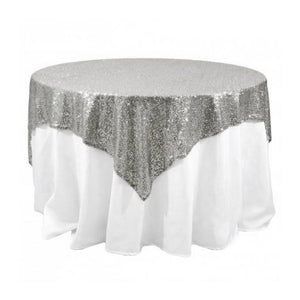 "Silver Sequins Overlay Tablecloth 60"" x 60"""