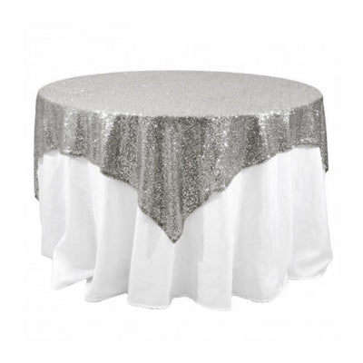 Silver Sequins Overlay Tablecloth 60