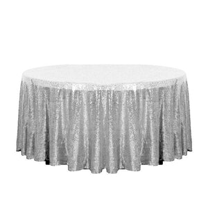 "132"" Silver Glitz Sequin Round Tablecloth"