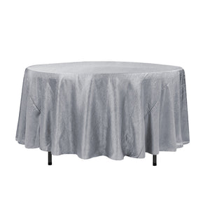 "108"" Silver Crinkle Crushed Taffeta Round Tablecloth"