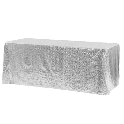 Silver Glitz Sequin Rectangular Tablecloth 90 x 132