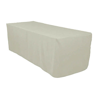 6 Ft Silver Fitted Polyester Rectangular Tablecloth