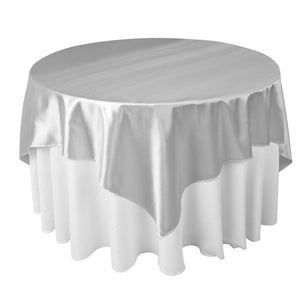 "Silver Satin Overlay Tablecloth 60"" x 60"""