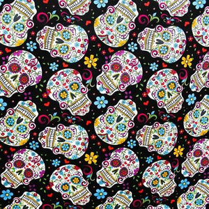 Skulls Black All Over 100% Cotton Fabric