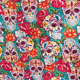 Skulls Teal All Over 100% Cotton Fabric