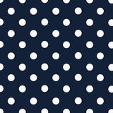Small White Dots on Navy Poly Cotton Fabric