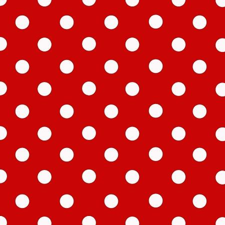 Small White Dots on Red Poly Cotton Fabric