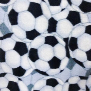 Soccer All Over White Anti Pill Print Fleece Fabric