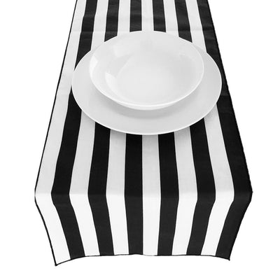 Black Poly Cotton Stripe Runner