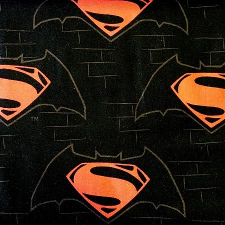Superman Logo on Black 100% Cotton Print Fabric