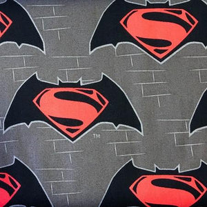 Superman Logo on Gray 100% Cotton Print Fabric