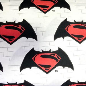 Superman Logo on White 100% Cotton Print Fabric
