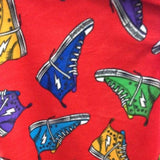 Sneaker Shoes on Red Anti Pill Premium Fleece Fabric
