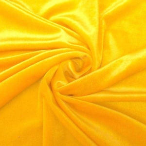 Yellow Velvet Stretch Fabric