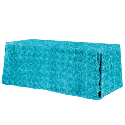 Turquoise Rosette 3D Satin Rectangular Tablecloth 90