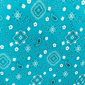 Turquoise Paisley Bandana Poly Cotton Fabric
