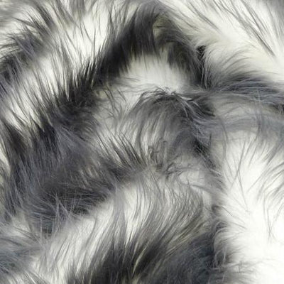 Gray Faux Fur Candy Shaggy Fabric Long Pile