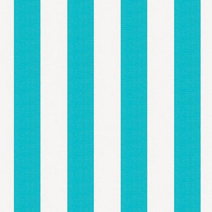 "1"" One Inch Turquoise and White Stripes Poly Cotton Fabric"
