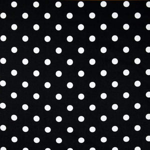 "1"" One inches White Polka Dot on Black Poly Cotton Fabric"