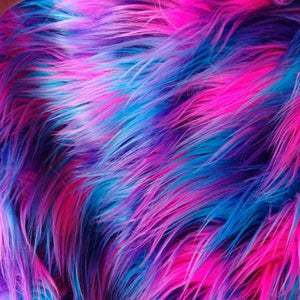 Purple Pink Turquoise Shaggy Versicolor Faux Fur Fabric