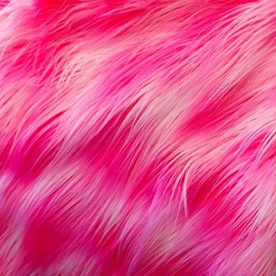 Hot Pink White Shaggy Versicolor Faux Fur Fabric
