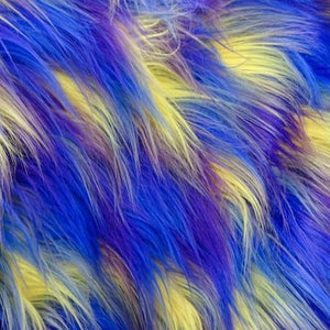 Blue Purple Yellow Shaggy Versicolor Faux Fur Fabric