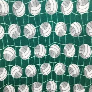 Volleyball Green Premium Anti Pill Print Fleece Fabric