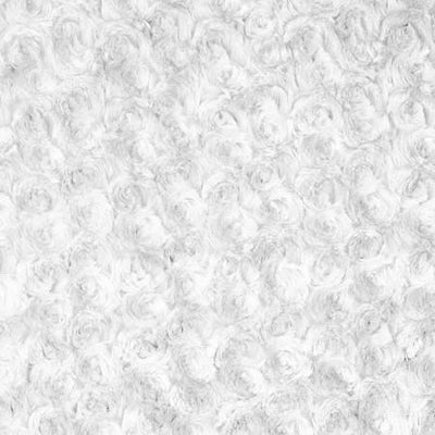 White Minky Rosebud Fabric