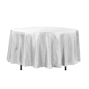 "108"" White Crinkle Crushed Taffeta Round Tablecloth"