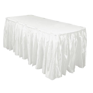 14 Ft. Hunter White Accordion Pleat Satin Table Skirt